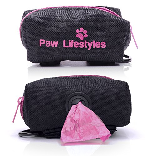Paw Lifestyles Dog Poop Bag Holder Leash Attachment - Fits Any Dog Leash - Includes Free Roll Of Dog Bags – Poop Bag Dispenser (Black and Magenta)