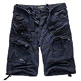 Geographical Norway - Juego de pantalones cortos de estilo cargo con cinturón y pañuelo UD para hombre azul marino. XXXXL