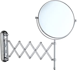 NYDZDM Wall-Mounted Double-Sided Make-up Mirror Bathroom Folding Telescopic Beauty Mirror 3 Times Magnifying Glass HD 360 ° Rotation