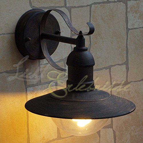 Rustikale Außenlampe in antik Gold E27 bis 60 Watt 230V Wandleuchte aus Aluminium & Kunstglas Terrasse Garten Weg Lampen Leuchte außen Beleuchtung