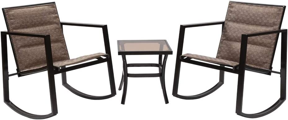 Fit Choice 3 Pieces Patio Furniture Set Brown Rocking Wicker Bistro Sets Modern Outdoor Rocking Chair Furniture Sets of 2 with Tempered Glass Coffee Table, W/ 2x1 Textline and Inner Cushion (Brown)