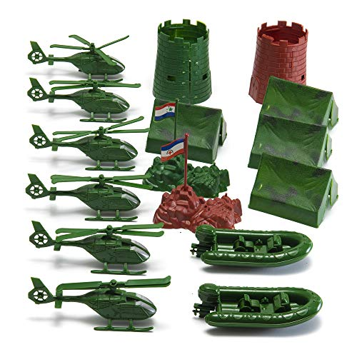 JaxoJoy 200-Piece Army Men Military Set - Cool Mini Action Figure Play Set w/ Soldiers, Vehicles, Aircraft & Boats - Pretend WWII Army Base & Military Toy Figurines for Boys