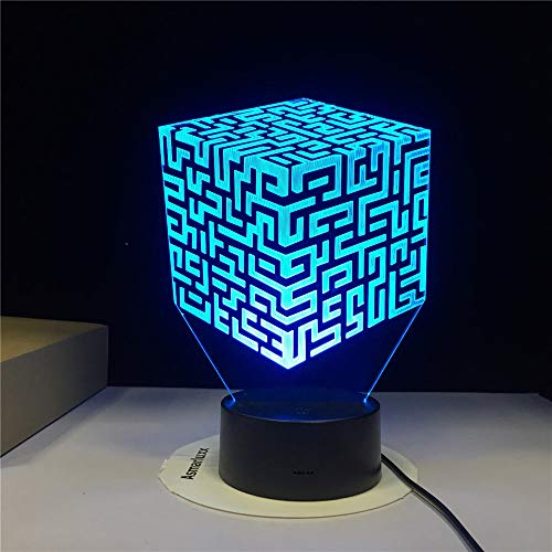 KangYD 3D Night Light Rubik's Cube Maze, LED Optical Illusion Lamp, F - Bluetooth Audio Base(5 Color), Gift for Child, Warm Lamp, Gift for Boy, Table Lamp, High Quality, Crafts