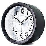 TXL 4 inch Round Metal Analog Alarm Clock Kids' Room Silent Snooze Travel Digital Table Clock with Backlight,...