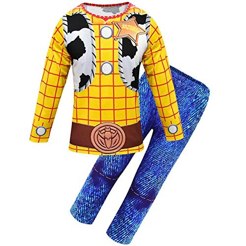 EQWR 2019 Halloween Toy Story Niños Woody Costume Boy Woody Role Play Traje de Vaquero Disfraces Cosplay Paños con Sombrero XL 1676