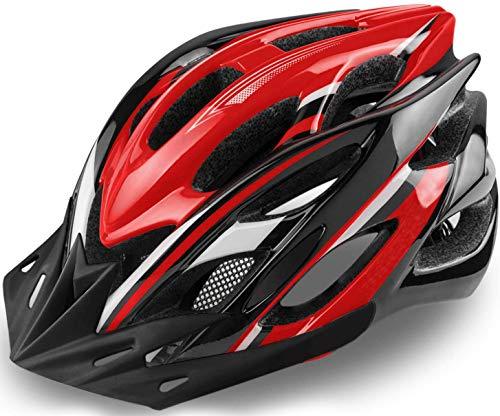 KINGLEAD Casco Bici con Luce di Sicurezza, Casco da Ciclismo Unisex Certificato CE Bici da Corsa All'aperto Sicurezza Casco da Bicicletta Superleggero Regolabile