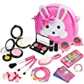 KASU 19Pcs Pretend Play Makeup Set with My First Purse, Smartphone, Sunglasses, Necklace & Bracelet, Credit Card, Lipstick, Brush, for Little Girls((Not Real Makeup) - Hot Pink