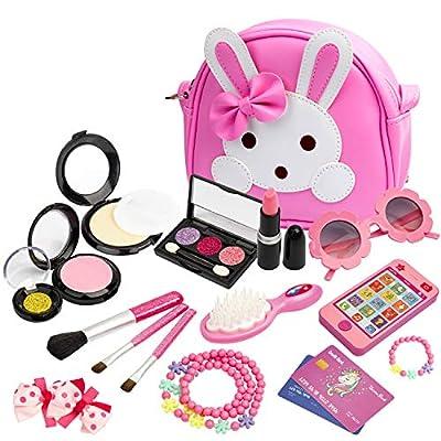 KASU 19Pcs Pretend Play Makeup Set with My First Purse, Smartphone, Sunglasses, Necklace & Bracelet, Credit Card, Lipstick, Brush, for Little Girls((Not Real Makeup) - Hot Pink