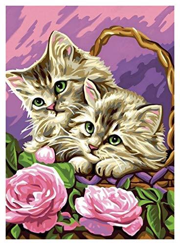 PJFYMG Kit de pintura de diamante 5D para manualidades para adultos y niños con taladro completo de punto de cruz de cristal para decoración de pared del hogar, 40 x 30 cm (2 gatitos)