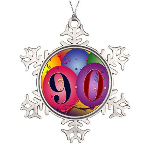 Cukudy Beste Vriend Sneeuwvlok Ornamenten 90 jaar! Verjaardag ballon - aangepaste westerse sneeuwvlok ornamenten verjaardag
