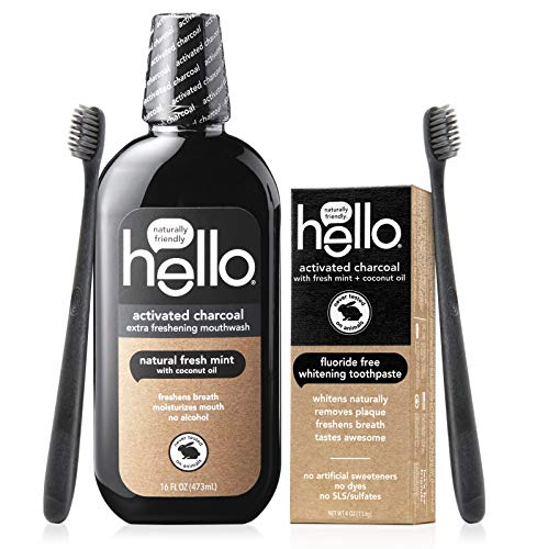Hello Activated Charcoal Starter Kit Fluoride Free SLS Free Whitening Toothpaste Extra Freshening Mouthwash 2 Charcoal Bristle BPAFree Toothbrushes, Black, 1 Count