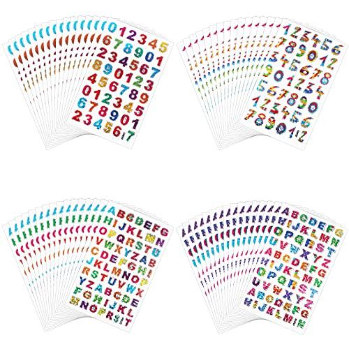 Boisbresil 80pcs Adesivi Alfabeto Fogli di Lettere Adesivi Lettere Adesive Piccole Colorate Adesivi Lettere Alfabeto Colorate Lettere Adesive Piccole Glitterate con 4 Stili, 20 Fogli Ciascuno
