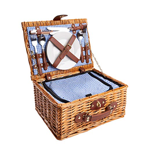 eGenuss LYP1598BLU Handgefertigtes Picknickkorb für 2 Personen – Kühlfach, Multifunktionsmesser, Edelstahlbesteck, Teller und Weingläser inklusive - Blaues Gingham-Muster 32x25x17 cm