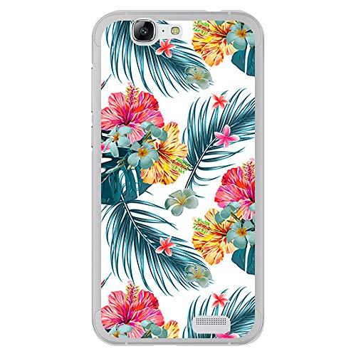 BJJ SHOP Transparent Hülle für [ Huawei Ascend G7 ], Klar Flexible Silikonhülle, Design: Exotische Blumen und Pflanzen