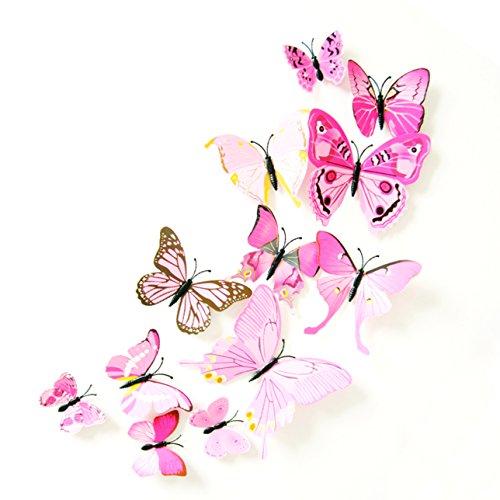 Oblique Unique 3D Schmetterlinge Blumen 12er Set Dekoration Wandtattoo (Alive (rosa))