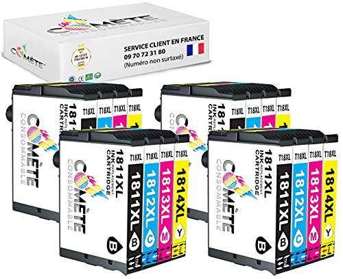 Cometa - Juego de 16 cartuchos para impresoras Epson Expression Home XP100, XP102, XP200, XP202, XP205, 4 negro, 4 cian, 4 magenta y 4 amarillo
