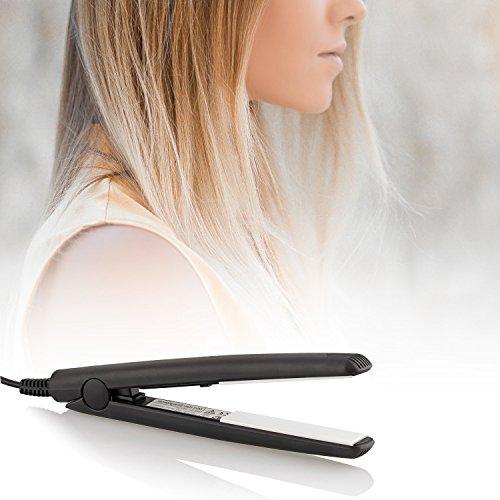 Qualilux Haarglätter, Mini Glätteisen im praktischen Reiseformat in verschiedenen Farben (Schwarz)
