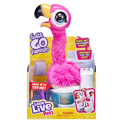 Little Live Pets Gotta Go Flamingo | Interactive Plush Toy That Eats, Sings, Wiggles, Poops and Talks (Batteries Included) | Reusable Food. Ages 4+
