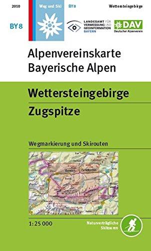 Wettersteingebirge, Zugspitze: Topographische Karte1:25.000 mit Wegmarkierungen und Skirouten (Alpenvereinskarten)