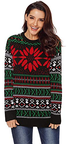 Long Sleeve Festival Christmas Eve Fair Isle Snowflake Pullover Sweater Jumper Top Aztec Black Floral 2XL