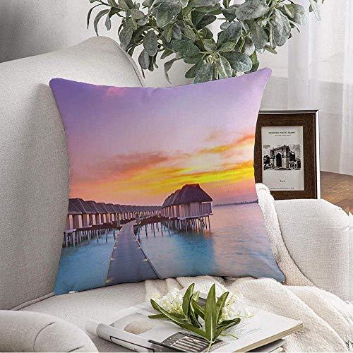 Dekorative quadratische Kissenbezug Erstaunliches Panorama Niemand Strand Landschaft Hawaii Sonnenuntergang Natur Spaß Texturen Himmel Paradies Tahiti Bali Weiche Kissenbezug für Schlafzimmer Sofa Cou