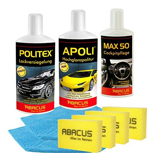 ABACUS AUTOPOLITUR SET-01 (7185) - 1x 500 ml APOLI + 1x 250 ml MAX 50 + 1x 500 ml POLITEX + 2X MFT Finish Polish Poliertuch + 4X Polierschwamm - Autopolitur Lackversiegelung Cockpitpflege + Zubehör
