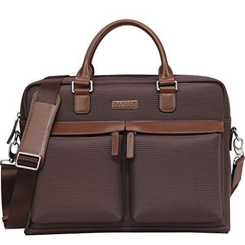 Banuce Waterproof Nylon Faux Leather Briefcase for Men Large Capacity Attache Case Tote Messenger Bags Business Tablet Shoulder Brown