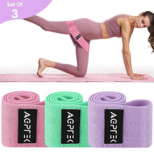 AGPTEK Bande Elastici Fitness Resistenza Set di 3, Fasce Elastiche Colorate Fasce Antiscivolo Muscolari Allenamento Bande per Esercizio Gluteo, Fianchi, Gambe, Bccia, Yoga, Pilates, Crossfit