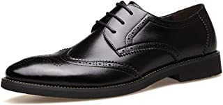 Leather Retro British Pointed Men's Wedding Shoes, Classic lace Business Casual Oxford Shoes