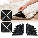 Pinzas para Alfombras, 24 Piezas Adhesivo de Alfombra Antideslizante Esquina de Alfombra Bases Antideslizantes para Alfombras Rug Gripper, para alfombras de Pisos de Madera (negro24)