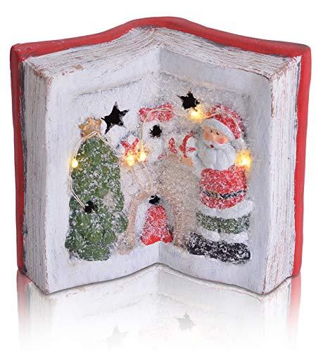 CHICCIE Livre de Noël en polyrésine avec Guirlande Lumineuse LED