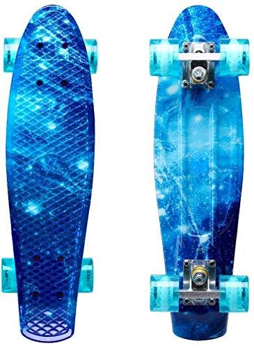 LISOPO Mini Cruiser Skateboard Komplette 57cm mit/ohne Blinkenden Led Leuchtrollen, Stabilem Deck für Kinder Anfänger Mädchen Jungen, Beste Geburtstagsgeschenke für Kinder