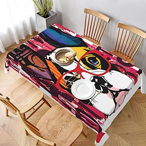 Mantel Rectangular,Retrato de Bulldog francés con Gafas de Sol,Manteles Lavable Antimanchas de Mantel para jardín Habitaciones decoración de Mesa 137x183cm
