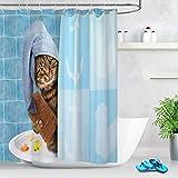 LB Lustige Katze Duschvorhang Antischimmel Wasserdicht Badezimmer Gardinen Blau 150x200cm Extra Lang Polyester Bad Vorhang mit Haken
