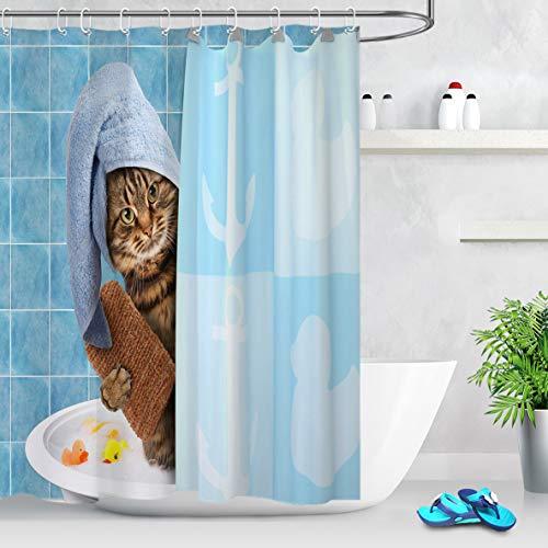 LB Lustige Katze Duschvorhang Antischimmel Wasserdicht Badezimmer Vorhänge Blau 150x200cm Extra Lang Polyester Bad Vorhang mit Haken