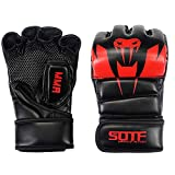 SOTF - Guantes de Boxeo para Artes Marciales Mixtas (Gasa Transpirable), Large, Rojo