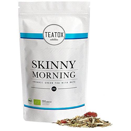 Teatox SKINNY MORNING | Bio Grüner Tee mit Mate Tee | am Morgen aktiv in den Tag starten mit dem natürlichen Koffein aus Sencha Grüntee und Yerba Mate | 100% biologisch, lose Teeblätter (im Ziplock)
