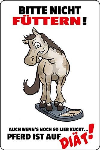 FS spreuk Gelieve niet te voeden! Paard is op dieet. Waarschuwingsbord metalen bord bordje gewelfd metaal sign 20 x 30 cm
