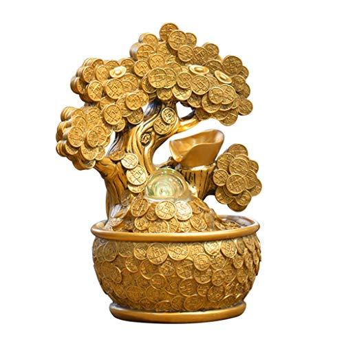Fuentes de Interior Fuente de Cascada Fuente de Mesa de Interior Lucky Gold Coin Money Tree y Bomba eléctrica, Calmante Calmante y Relajante Sonido de Agua para el hogar