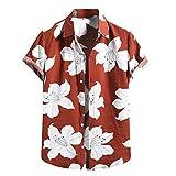 Camisas Hawaianas para Hombres Camisas de Manga Corta Estampadas de Algodón Y Lino de Moda Camisas Casuales con Botones Tops Camisas de Playa
