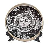 Mystic - Plato decorativo de cerámica de 20,32 cm, diseño de cara de sol en un círculo, diseño esotérico de energía interior del cosmos, accesorio decorativo de pared para cenar, fiestas, bodas