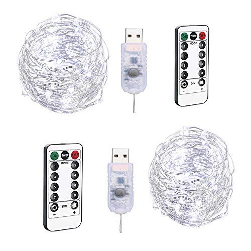 BXROIU 2 Guirlandes Lumineuses 100 LEDs 10M Fil de cuivre Blanc froid,Prise USB avec Télécommande Lumière Etoilée pour Décoration Noël Soirée Mariage Fête
