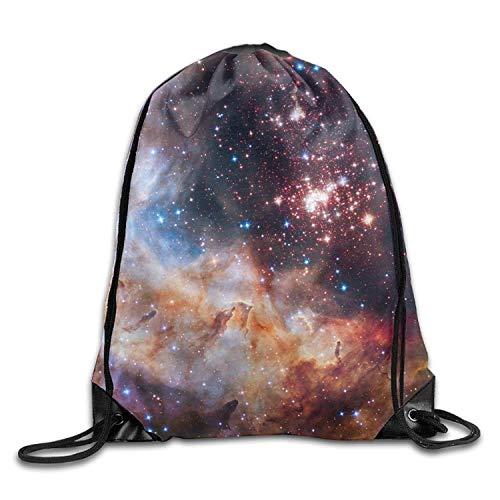 Etryrt Mochilas/Bolsas de Gimnasia,Bolsas de Cuerdas, Large Capacity Drawstring Backpack Galaxy Nebulosas Space Waterproof Bunch Backpack For Men and Women