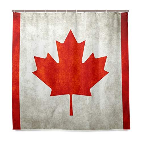 Stoff Badezimmer Duschvorhang Kanada Flagge Wasserdicht & schimmelresistent Polyester Stoff mit 12 Kunststoffhaken 180 x 180 cm (72 x 72 Zoll)