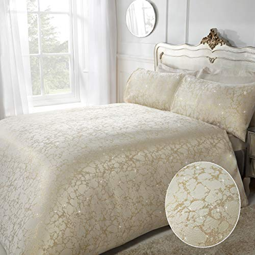 Sleepdown Premium Gold Marble And Glitter Duvet Set Easy Care Super Soft Hotel Quality Jaquard Quilt Fabric Design - Double Duvet Cover Size 200x200 cm + 2 matching pillowcase