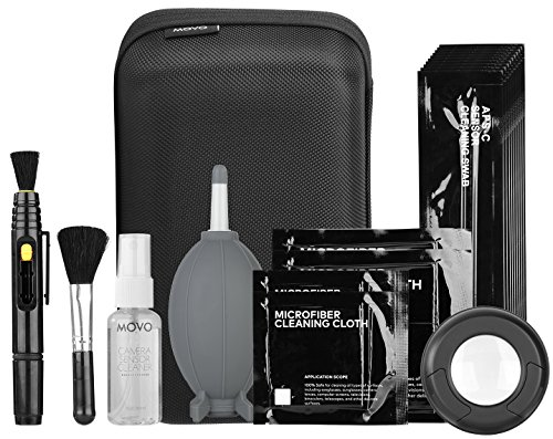 Movo Deluxe Essentials DSLR Camera Cleaning Kit PRO with LED Loupe, 10 APS-C Swabs, Sensor Cleaning Fluid, Air Blower, Lens Pen, Soft Brush, 2X Small and 2X Large Microfiber Cloth and Carrying Case Movo