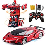 Remote Control Car Transforming Robot _RC Hobby Toy Cars 2. 4GHz, 1/18 Scale Electric Model Vehicle for Kids and Toddler and Boys and Girls,with LED Lightning, Kids Gifts Red