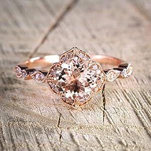 1.50 Carat Antique Design Round Cut Morganite and Diamond Engagement Ring In Rose Gold