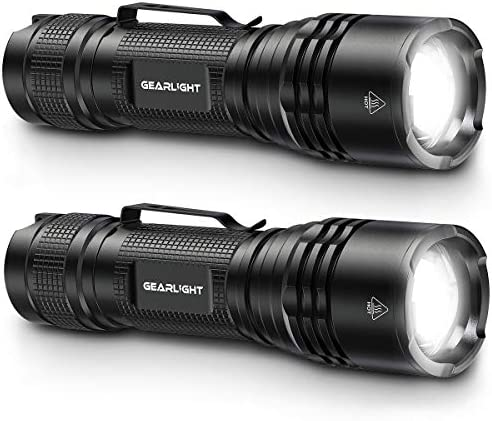 GearLight Tac LED Tactical Flashlight 2 Pack Single Mode High Lumen Zoomable Water Resistant product image