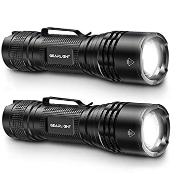 GearLight LED Tactical Flashlights - Pack of 2 - Bright Zoomable Handheld Flashlight Set with High Lumens for Camping Outdoor & Emergency Use